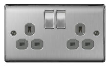BG Nexus Metal NBS22G - STAINLESS STEEL Double Plug Socket 2 Gang Brushed Satin