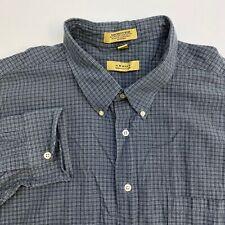 Arrow Button Up Dress Shirt Men's 18-18.5 Long Sleeve Gray Teal Plaid MicroTech