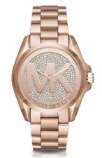 NWT Michael Kors Womens Bradshaw Rose Gold & Pave Dial MK Logo Watch MK6437 $295