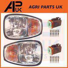 PAIR JCB 2CX 3CX 4CX Backhoe Front Headlights Headlamps Head Light Lamp & Plugs