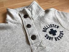 HOLLISTER Men's Surf Rescue Grey 1/3 Button Jumper Size M
