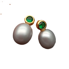 Freshwater Cultured Gray Rice Pearl Drop Stud Cubic Zirconia Pave Earrings
