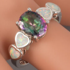 7x9 Oval Rainbow Mystic Topaz White Fire Opal Silver Jewelry Ring US Size 7 8 9