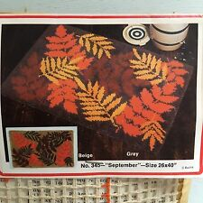 VTG Bucilla Deluxe Latch Hook Rug Canvas Fall Foliage September Large 26X40