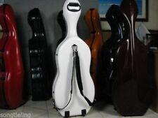 strong white fiberglass 4/4 cello hard case with wheells