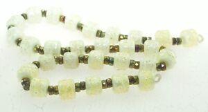OliveStuart Handmade Lampwork Beads 28 cream dichroic w/sterling silver barrel