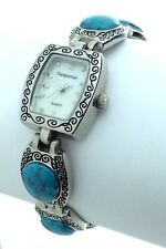Womens Vintage Turquoise Mother Pearl Face New Battery Extra Link 7in H273