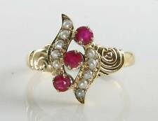 UNUSUAL 9K 9CT GOLD INDIAN RUBY &  PEARL WAVE SWIRL ART DECO INS RING FREE SIZE