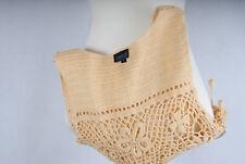 L133/14 Topshop Cotton Crochet Hippie Boohoo Cropped Top wiht Balls,UK 14 Eur 42