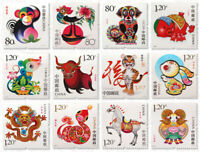 1 Set 12 PCS Third/3 Round Commemorative Stamp Collect China Zodiac 2004-2015