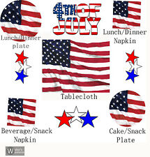 American Flag Round Dinner Plate Napkin Plastic Table Cover Patriotic Party Pack