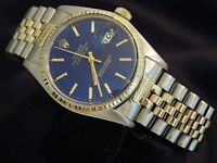 Rolex Datejust Men Two-Tone 14K Yellow Gold & Stainless Steel Jubilee Blue 16013