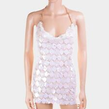 Body Chain Women Necklace White Sequin Camisole Top