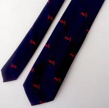 Vtg 50s Reis of New Haven Skinny Mens Tie Red Flying A Logo Silk Navy Blue