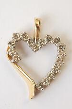 Vintage 10k Yellow Gold Diamond Heart Pendant 0.60 ctw Estate Necklace Charm Gem