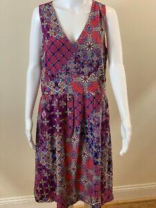 GARNET HILL Sz 14 Sleeveless Silk Boho Dress Multi Floral Purple V-Neck. NWOT