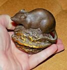 A+Vintage+Heavy+Solid+Bronze+Figure+Mouse+Upon+Walnut+Desk+Weight+%2F+Paperweight