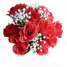 RED OPEN ROSE & WHITE GYP FAUX SILK BRIDE OR BRIDESMAID POSY (W024)