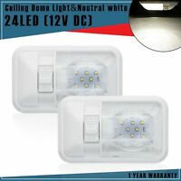 2 X RV Neutral White LED 12V Single Dome Light Ceiling Fixture Camper Motorhome