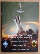 Programs Dynamo Kyiv - AEK Greece 2018