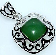 Emerald Green JADE Chunky Sterling SILVER Pendant NEW Real Gem Handmade 925 Gift