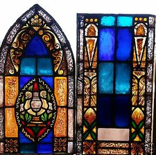 Antique Painted Stained Glass Leaded Gothic Window Religious Lyre Music Notes