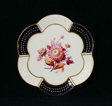 Antique Brownfield Porcelain Hand Painted Gilded Cobalt Blue Flowers 9 Plates