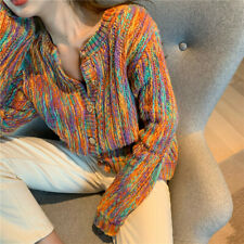 Korean Womens Multi-colors Knitted Cardigans Jumper Outwear Sweater Coat Button