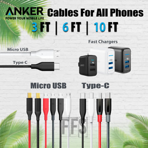 Anker Cables Micro USB OR TYPE-C USBC lot 3/6/10ft Android Phones All Devices