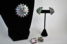 """Vintage ICM """"Made in Mexico"""" Silver Matching Earrings, Brooch, & Cufflinks Set"""