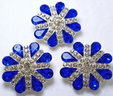 "3 Clear/Blue 1 1/8""  Crystal/Rhinestone Silver Metal Shank Buttons #S607"
