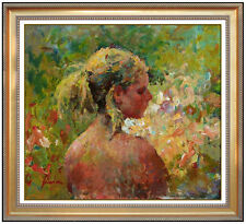 Hua Chen Original Nude Female Portrait Oil Painting on Canvas Signed Artwork SBO