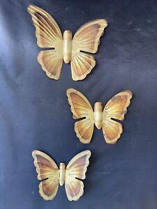 Vintage Metal Hanging Butterflies Copper Brass Wall Art 1970s Set of 3