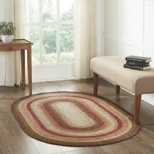 VHC Ginger Spice Burgundy Black Tan Country Cottage Oval Braided Rug W/Pad
