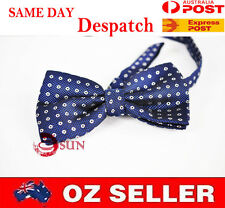 MEN BOWTIE TUXEDO BOW TIE Navy Blue Little white dots PARTY BALL HIGH Quality