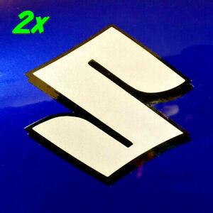 """Suzuki S logo 4"""" Reflective White decals 600 sticker 400 gsxr 1100 drz 750 1000"""