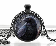 Black Raven Pendant Necklace Bird Picture Crow Gothic Jewelry Jewellry Best Gift