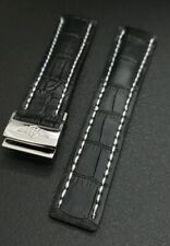 22MM BREITLING GENUINE LEATHER WATCH STRAP WITH DEPLOYMENT BUCKLE STITCHED MENS