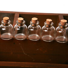 5X Empty Clear Tiny Mini Clear Message Glass Bottles Vials With Cork 22*28 mm