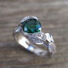 Leaf engagement ring, Nature engagement ring, Emerald ring, Leaves ring, Vintage