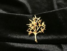 """Vintage Gold-Toned Holiday Christmas Tree Pin with Rhinestones 2"""" x 1"""""""