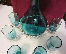 VINTAGE HAND BLOWN  AQUA BLUE DECANTER SET - UNIQUE - GLASS ACCENTS - GORGEOUS