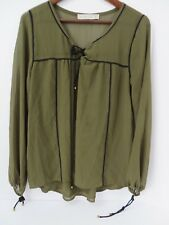 Abercrombie & Fitch Sheer Top Long Sleeve Lace Up Details Green Med  #7476