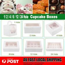 Cupcake Box Range 2 hole 4 hole 6 hole 12/24 hole Window Face Cases Party Boxes