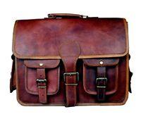Vintage Leather Men's Handmade Brown Laptop Shoulder Satchel Messenger Bag New