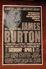 JAMES BURTON Austin TX (2013) CONCERT POSTER elvis presley emmylou harris HOF