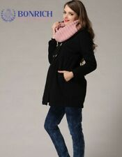 New Winter Double Breasted Maternity Coat Black with Hood Size 10 12