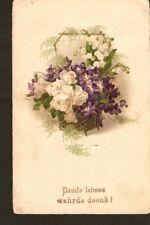 Carte postale Bonne fête Jour de nommage nom fleurs rose pensée Meissenen & Buch