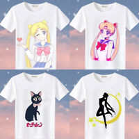 Sailor Moon Luna Cat Women Girl Summer White Casual Short Sleeve Cotton T-shirts