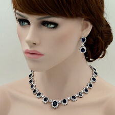 18K White Gold GP Sapphire Zirconia CZ Necklace Earrings Wedding Jewelry Set 708